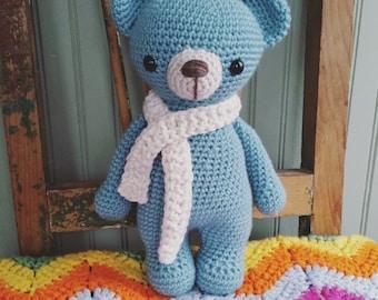 Blue Bear: A Very Huggable Teddy Bear, Handmade Amigurumi Crochet, READY TO SHIP