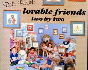 1980s Lovable Friends Two by Two Cross Stitch Leaflet Dale Burdett DB-58