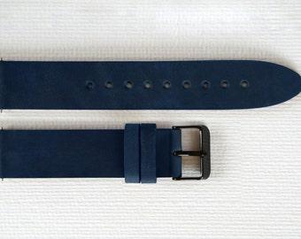 Blue watch strap, Leather watch strap, 20mm watch strap, Watch band, 20mm Watch band, Leather watch band, Watch straps, Watch bands
