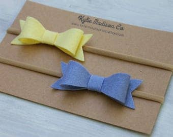 yellow and periwinkle blue bow nylon headband set, baby headband set, Easter headband set