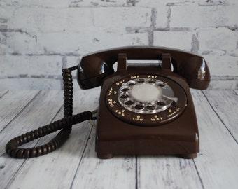 Brown Rotary Dial Desk Telephone,ITT Chocolate Brown Dial Telphone, Brown Desk Phone