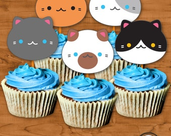Cat Cupcake Toppers INSTANT download, Kawaii Cupcake Kitties, Kitten Cupcake Toppers, Meow!