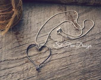 Fishing Hooks Heart Necklace