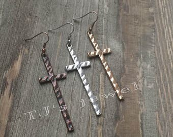 Hammered Cross Earrings Gold Earrings Silver Earrings Copper Earrings Antique Earrings Long Earrings