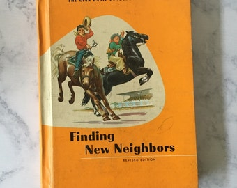 Vintage Ginn Basic Readers Book - Finding New Neighbors, 1964 edition, reading book, childrens books, young reader gift, orange hardcover