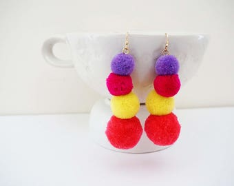Pom Pom Statement Earrings
