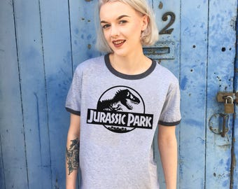 Vintage Style Jurassic Park Grey Ringer T-Shirt