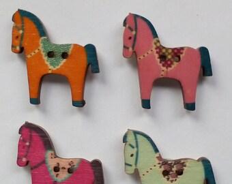 Wooden button horse fridge magnets, multi-coloured