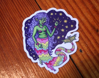 Mermaid Sticker, Feminist Stickers, Phone Stickers, Cool Stickers, Tumblr stickers, Hipster stickers, Feminism Stickers, Aesthetic Stickers