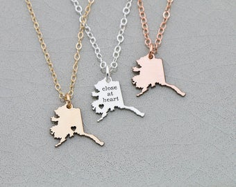 SALE • Alaska State • Jewelry Alaska Necklace • Map Necklace • Personalize State Jewelry • Rose Gold State Charm • Going Away Gift • Friend