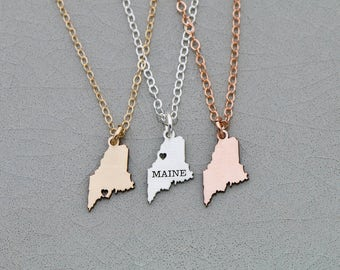 Maine State Necklace Maine Gift State Charm Maine • Jewelry Silver Maine Gold State Pendant • Engraved State Custom Moving Gift