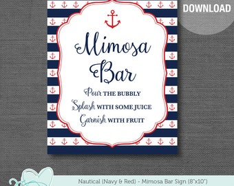 Nautical Navy and Red Mimosa Bar Sign Printable, Anchor, Bridal Shower Sign, Baby Shower Sign, Wedding Sign, Navy and White Stripes, 3N