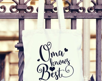 Large Oma Knows Best Canvas Tote Bag - German Grandma Gift - Oma Canvas Bag - Canvas Tote - Grandmother Canvas Grocery Bag