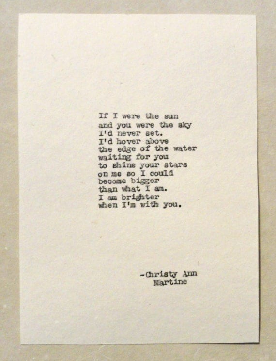 Gifts for Men and Women - Romantic Paper Gift - If I were the Sun and You Were the Sky I'd Never Set Poem Typed by Poet