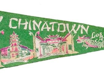 1930 Los Angeles China Town Pennant Flag Felt 1920 1940 Collectible Wall Hang Art California LA Chinese Asian New Year Dragon Downtown Retro