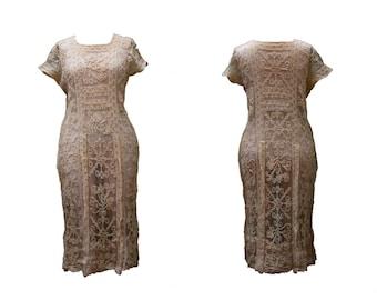 1920s XL Dress Lace Off White Wedding Bridal Boho Plus Size Ecru Cream Flapper Bohemian 1910 Sheer Coachella Festival Oversize Coverup Beach