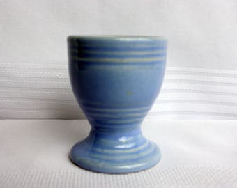 Blue Ceramic Egg Cup- Blue Egg Cup - Ribbed Egg Cup