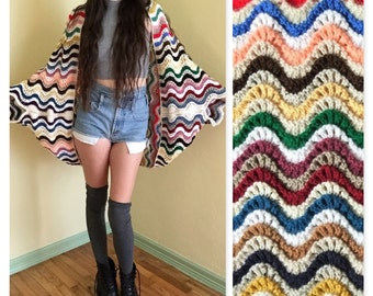 Upcycled knit wrap/dolman sleeve cardigan 70's vintage