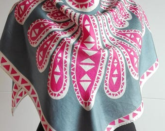 Vintage Square Silk Scarf with Abstract Print - Grey and Pink - hand rolled hem