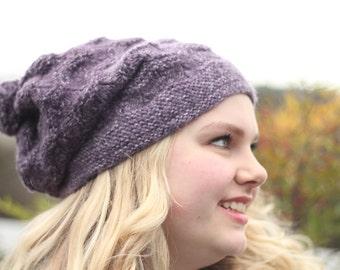 Purple Wavy Slouch Hat with Pom Pom