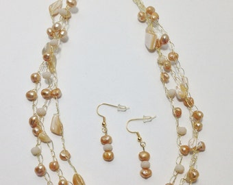 Necklace, Earrings, Gold Lip Shell, Gold Cultured Pearl, Faceted Glass, Non Tarnish Gold Tone Wire, Wire Crochet