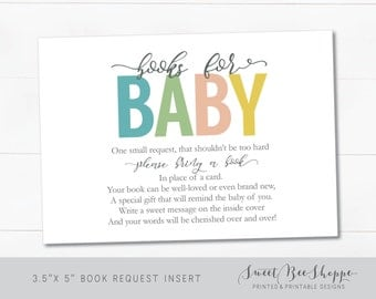 """Baby Shower Book Request Cards: Baby Shower """"Bring a Book"""" Insert; Gender Neutral Baby Shower; Bright Colorful **Instant Download**"""
