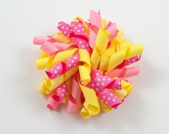 Pink and Yellow Hair Bow, Pink Lemonade Hair Bow, Pink and Yellow Korker Bow, Pink Lemonade Korker Bow (Item #10044)