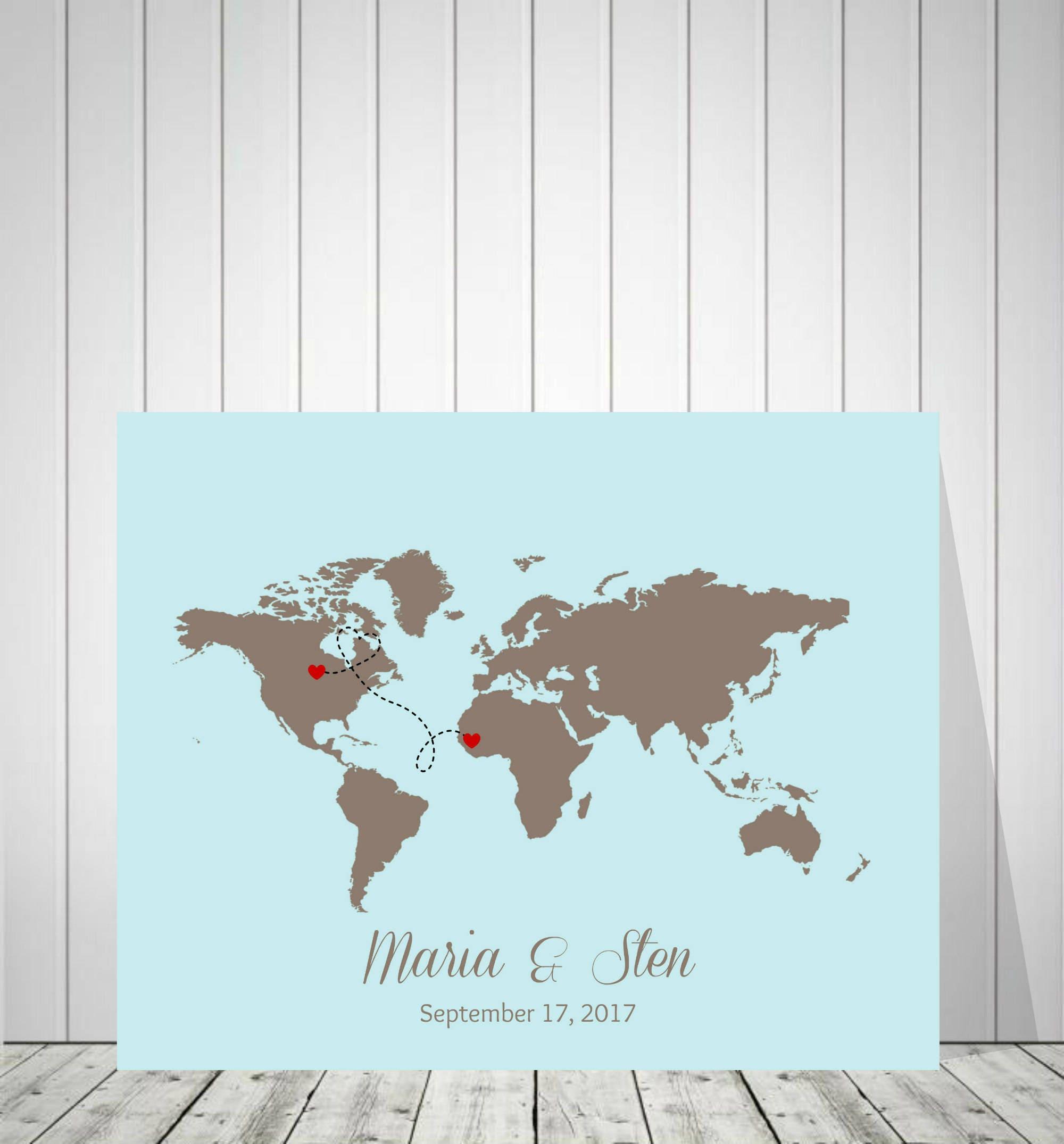 Wedding World Map Guest Book Travel Map Customization World
