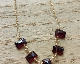 Garnet Necklace, Gold Garnet Necklace, Red Garnet Pendant, 14K Gold Filled Necklace, Small Garnet Necklace