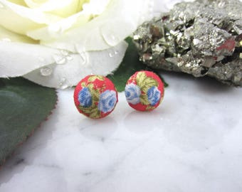 Button Earrings - Red Button Earrings - Fabric Earrings - Fabric Studs - Button Studs - Red Studs - Red Flower Studs - Floral Studs