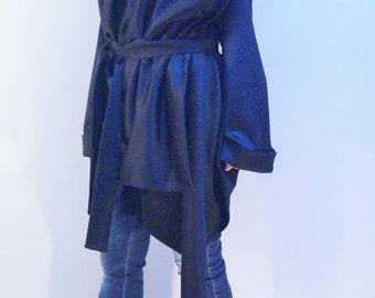 Black Wool Coat/ Winter Coat /Cashmere Wool Coat /Long Sleeve Trench Coat/ Asymmetrical Coat /Extravagant Coat/Black Coat/Belted Coat/F1210