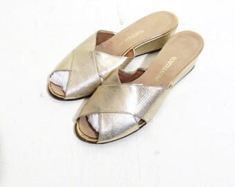 Vintage Gold Slip On Peep Toe Wedge Sandals Size 7