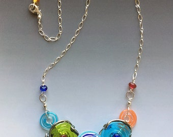 Octopus' Garden Necklace in Bright Multi-Color: handmade glass lampwork beads with sterling silver components