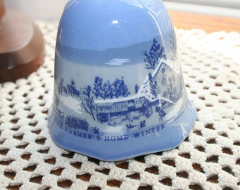 Currier and Ives The Farmers Home Winter  Bell / Blue and White / Collector Bell / Winter Scene