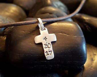 Custom Date BOYS CROSS Necklace For First COMMUNION, Boy Necklace Pick Leather or Chain, First Holy Communion, Custom Sterling Cross
