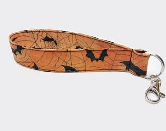 Bats lanyard, cobweb wristlet, bats keychain, small lanyard keychain, wrist lanyard, Halloween key fob, key finder, bats and cobwebs lanyard