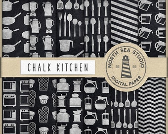 CHALK KITCHEN, Baking Digital Paper, Kitchen Tool Patterns, Chalkboard Paper, Kitchen Utensil Backgrounds, Cooking Equipment, BUY5FOR8