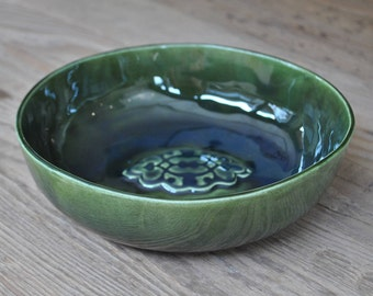 Large Green Handcrafted Pottery Bowl, Ceramic Fruit Serving Platter, Stamped Plate, Home Decor, Gift