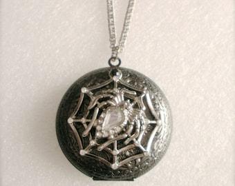 Spider Locket, Large Spider Rhinestone Locket Necklace, Photo Locket, Vintage Style, Silver Locket, Gift For Her, Picture Locket Jewelry