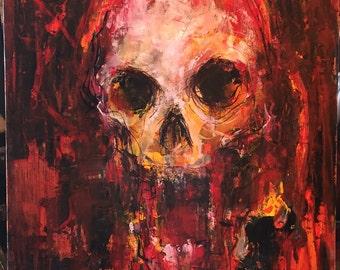 Original oil painting of Skull Modern Art Abstract