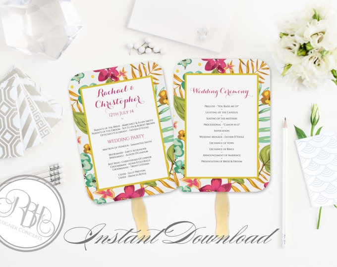 Tropical Wedding Program Fan Template -Instant DOWNLOAD - EDITABLE TEXT pdf Only - Tropical Island Beach Fan-Matilda