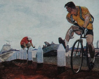 Artist P. Ossovskiy. Vintage Soviet Postcard - 1981. Cyclist, Bicycle, Sport, Athlete, Print
