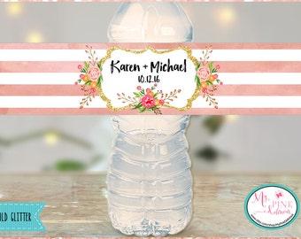 Floral Stripes Personalized  Wedding Water bottle label-Glitter wedding favors-Wedding favor-Bachelorette favors-Bridal Waterproof