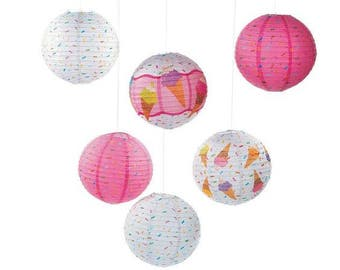 6/ I Love Ice Cream Party Lanterns/ Party Hanging decorations/ sprinkles/ Colorful party/Girl Party /