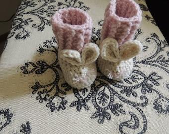 Crochet Bunny Booties, Luv Beanies, Baby Booties, Pink Bunny booties, Newborn booties, Baby Shoes, Baby Boots, Baby Girl Booties