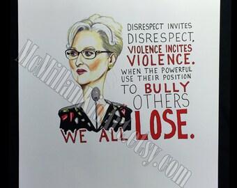 Meryl Streep's Golden Globe speech quote Art Print