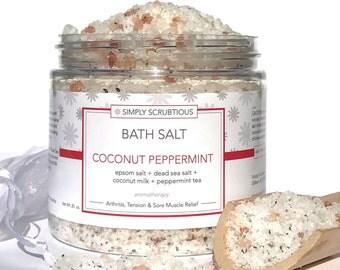 COCONUT PEPPERMINT Bath Salt-Peppermint Bath Salt-Bath Salt-Aromatherapy Bath Soak-Coconut Bath Salt-Detox Bath Salt- 16 oz.