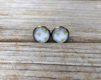 Lime Green Cactus earrings, stud earrings, Desert stud earrings, cabochon earrings, 12mm earrings, Gifts for her