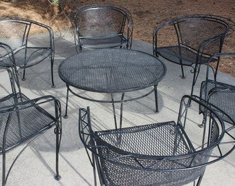 Wrought Iron Patio Furniture, Cocktail Patio Furniture With 6 Chairs, MCM Patio  Furniture,