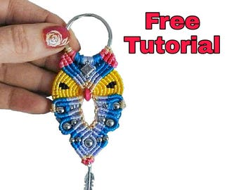 Kit for Micro Macrame Owl Key Chain